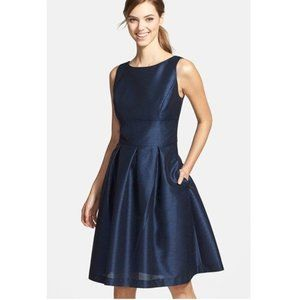 Alfred Sung Boat Neck Navy A-Line Party Dress